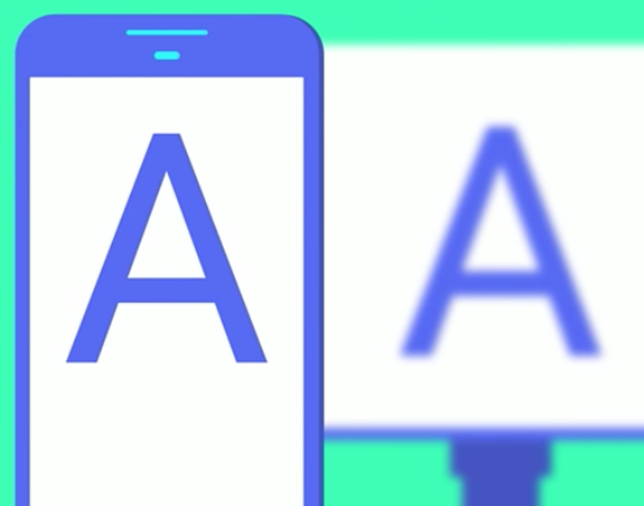 Text on mobile and billboard has a consistent angular size